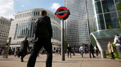 Business and office professionals at Canary Wharf, London, UK Stock Footage