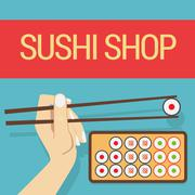 Hand with sushi roll - stock illustration