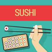 Hand with sushi roll Stock Illustration
