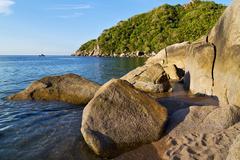 stone in thailand kho tao bay - stock photo