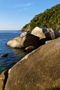 stone in thailand kho tao bay abstract of a blue l - stock photo