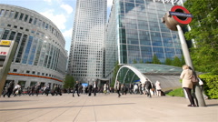 London commuters, Canary Wharf, Docklands, London, UK - stock footage