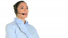 Call Center Operator Woman Stock Footage