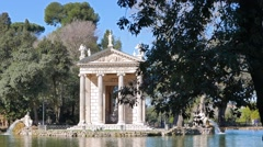 Around the Temple of Asclepius. Villa Borghese, Zoom. Rome, Italy. 1280x720 Stock Footage