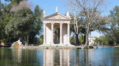 Around the Temple of Asclepius. Villa Borghese, Zoom. Rome, Italy Stock Footage