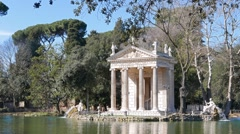 Temple of Asclepius. Villa Borghese gardens,, Zoom . Rome, Italy. 1280x720 Stock Footage