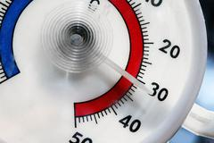 hot weather - closeup of outdoor thermometer - stock photo