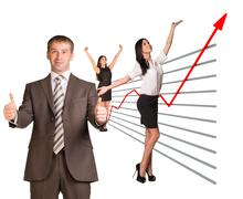 Stock Illustration of Business people and graphical chart