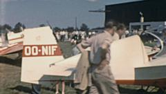 England 1960s: visitors during an air show - stock footage