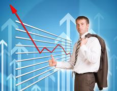 Businessman and graphical chart Stock Illustration