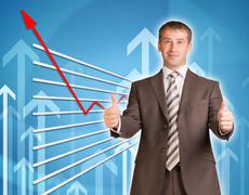 Businessman and graphical chart - stock illustration