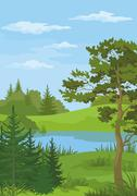 Landscape with Trees and River - stock illustration