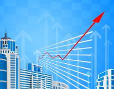 Graphical chart with red arrow up Stock Illustration