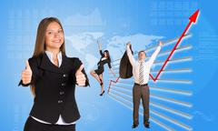 Business people and graphical chart - stock illustration