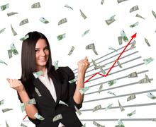 Businesswoman and graphical chart - stock illustration