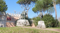 Museo Pietro Canonica, Villa Borghese gardens, Rome, Italy. 1280x720 Stock Footage