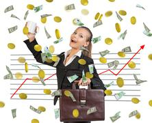 Stock Illustration of Businesswoman and graphical chart