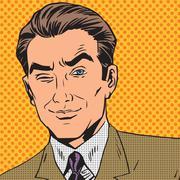 Man looks up closing one eye pop art comics retro style Halftone Stock Illustration