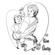 Mother with her baby in a sling - stock illustration