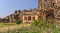 Historical architecture at Golkonda Fort, Hyderabad, India Stock Photos