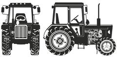 Stock Illustration of Vector Agricultural Tractor Silhouettes