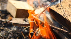 Burning wooden beams, close-up Stock Footage