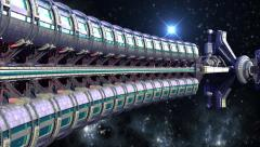 Spaceship Wheel in interstellar travel - stock footage