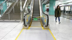 Escalator out of order due to energy saving, modern station, three views Stock Footage