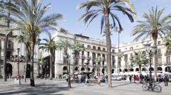 Placa Reial, Barcelona, Catalonia, Spain Stock Footage