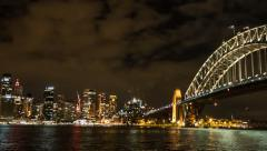 Sydney harbour night time panning time lapse Stock Footage