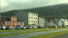 Colorful Houses of Downtown AKUREYRI, ICELAND Stock Footage