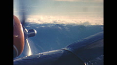 Vintage 16mm film, aerial DC6 aircraft over Andes Mountains, left, 1960 Stock Footage