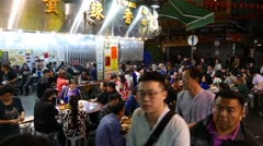 Overflow restaurant expanded to street area, night lifestyle of Hong Kong Stock Footage