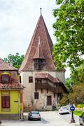 Shoemakers tower (Turnul Cizmarilor) part of  Sighisoara fortress Stock Photos