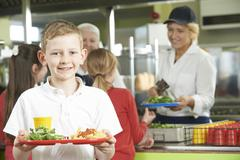 Male Pupil With Healthy Lunch In School Cafeteria Stock Photos