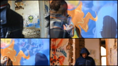 Ghetto Multi collage screen  kids in the abandone graffitti  house - stock footage