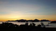 sunset over seychelles island praslin - stock footage