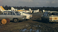 England 1960s: aircrafts parked in the strip during an airshow Stock Footage