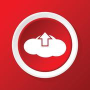 Cloud upload icon on red Stock Illustration