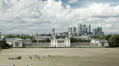 Panoramic View over London and Canary Wharf from Greenwich Park Stock Footage