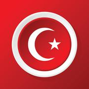 Crescent star icon on red - stock illustration