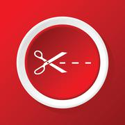 Stock Illustration of Cutting scissors icon on red