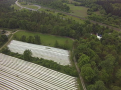 Arial from asparagus field in bruchsal Stock Footage