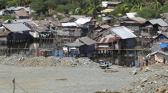 Asian shanty village Stock Footage