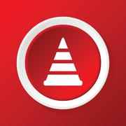 Traffic cone icon on red - stock illustration