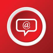 Mail message icon on red Stock Illustration
