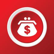 Dollar purse icon on red Stock Illustration