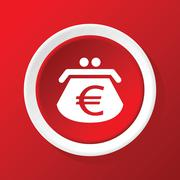 Euro purse icon on red Stock Illustration