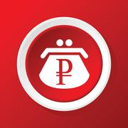 Ruble purse icon on red Stock Illustration