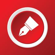 Pen nib icon on red Stock Illustration